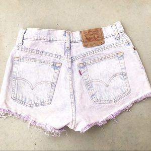 Levi's Light Wash Purple Tinted Denim Shorts